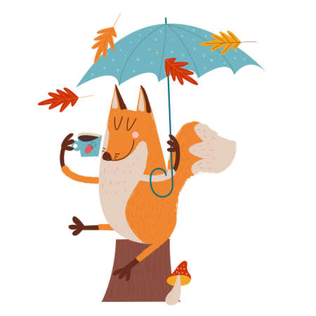 Hello, autumn. Funny red Fox with an umbrella drinking tea sitting under an umbrella on an autumn day. illustration.