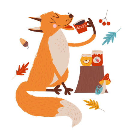 Hello, autumn. Funny red Fox with an umbrella drinking tea with jam on an autumn day. Vector illustration.