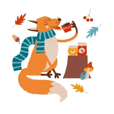 Hello, autumn. Funny red Fox with an umbrella drinking tea with jam on an autumn day.  illustration.