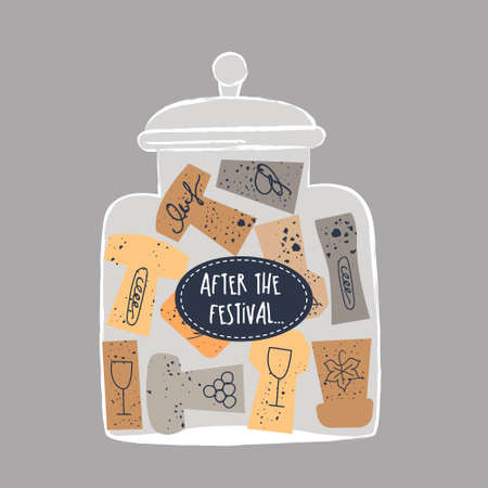Glass jar with a collection of wine corks. illustration in a flat hand drawn style on a gray background. Inscription on a glass jar After the festival.