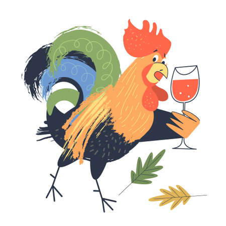 Bright cheerful Cockerel with a glass of red wine. illustration on a white background. Illusztráció