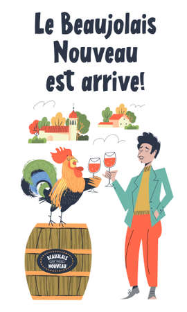 Beaujolais Nouveau has arrived, the phrase is written in French. Lots of colorful wine bottles. A man and a rooster drink wine together. The rooster is a symbol of France. illustration. Illusztráció