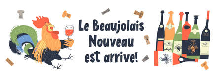 Beaujolais Nouveau has arrived, the phrase is written in French. Lots of colorful wine bottles. A drunken rooster drinks wine. Illusztráció