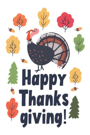 Happy thanksgiving. Greeting card, poster. Funny smug Turkey, colorful autumn trees.