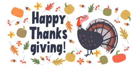 Happy thanksgiving. Greeting card, poster. A funny smug Turkey, a crop of multicolored colorful pumpkins and autumn leaves, berries and acorns.