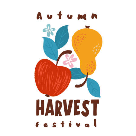 Harvest festival. Vector on a white background. Red ripe Apple and yellow pear. Ilustração