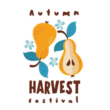 Harvest festival. Vector on a white background. Two yellow ripe pears.