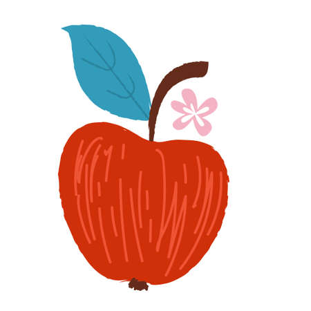 Harvest festival. Vector on a white background. Red ripe Apple. Ilustração