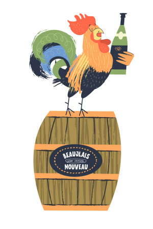 Beaujolais Nouveau, a festival of new wine in France. A colorful bright rooster with a bottle of wine stands on a wine barrel. Vector illustration, poster, invitation. Ilustração