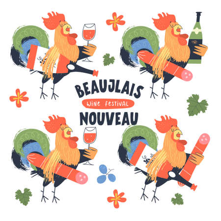 Beaujolais Nouveau, a festival of new wine in France. Four roosters, symbols of France. Roosters hold a bottle of wine, a glass of wine and salami. Vector illustration, poster, invitation.