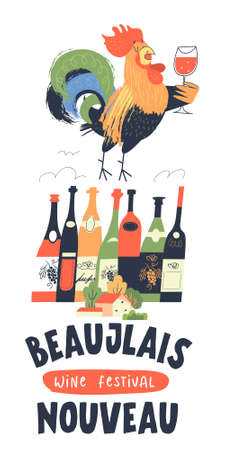 Beaujolais Nouveau, festival of new wine in France. Rooster with a glass of wine. Many bottles of wine. A small village house next to autumn trees. Vector illustration, poster, invitation.