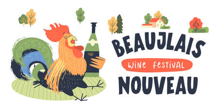 Beaujolais Nouveau, a festival of new wine in France. A colorful drunk rooster with a bottle of wine is sitting in a clearing. Vector illustration, poster, invitation.