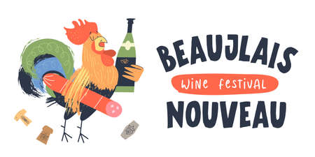 Beaujolais Nouveau, a festival of new wine in France. A cock with salami under his arm holds a bottle of wine. Vector illustration, poster, invitation.