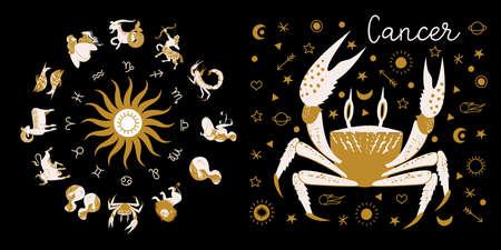 Zodiac sign Cancer. Full horoscope in the circle. Horoscope wheel zodiac with twelve signs vector. Aries; Taurus; Gemini; Cancer; Leo; Virgo; Libra; Scorpio; Sagittarius; Capricorn; Aquarius, Pisces