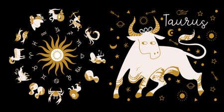 Zodiac sign Taurus. Full horoscope in the circle. Horoscope wheel zodiac with twelve signs vector. Aries; Taurus; Gemini; Cancer; Leo; Virgo; Libra; Scorpio; Sagittarius; Capricorn; Aquarius, Pisces