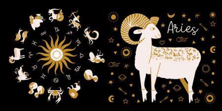 Zodiac sign Taurus. Full horoscope in the circle. Horoscope wheel zodiac with twelve signs vector. Aries; Taurus; Gemini; Cancer; Leo; Virgo; Libra; Scorpio; Sagittarius; Capricorn; Aquarius, Pisces.