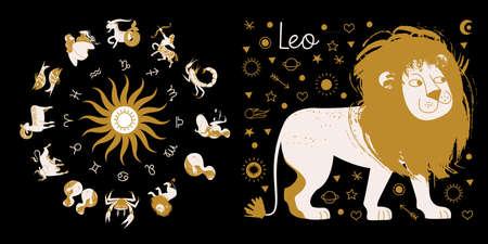 The zodiac sign Leo. Full horoscope in the circle. Horoscope wheel zodiac with twelve signs vector. Aries; Taurus; Gemini; Cancer; Leo; Virgo; Libra; Scorpio; Sagittarius; Capricorn; Aquarius, Pisces