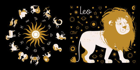 The zodiac sign Leo. Full horoscope in the circle. Horoscope wheel zodiac with twelve signs vector. Aries; Taurus; Gemini; Cancer; Leo; Virgo; Libra; Scorpio; Sagittarius; Capricorn; Aquarius, Pisces