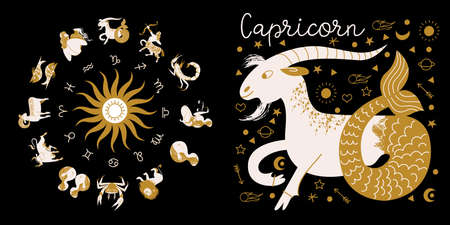 Zodiac sign Capricorn. Full horoscope in the circle. Horoscope wheel zodiac with twelve signs vector. Aries; Taurus; Gemini; Cancer; Leo; Virgo; Libra; Scorpio; Sagittarius; Capricorn; Aquarius, Pisces