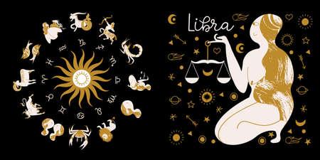 Libra zodiac sign. Full horoscope in the circle. Horoscope wheel zodiac with twelve signs vector. Aries; Taurus; Gemini; Cancer; Leo; Virgo; Libra; Scorpio; Sagittarius; Capricorn; Aquarius, Pisces