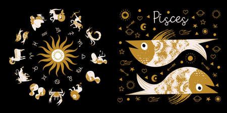 Zodiac sign Pisces. Full horoscope in the circle. Horoscope wheel zodiac with twelve signs vector. Aries; Taurus; Gemini; Cancer; Leo; Virgo; Libra; Scorpio; Sagittarius; Capricorn; Aquarius, Pisces Illustration