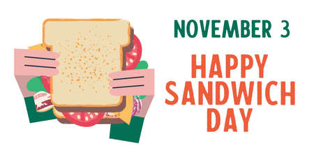 Sandwich. Happy sandwich day. Vector funny illustration in flat cartoon style. Isolated on a white background.