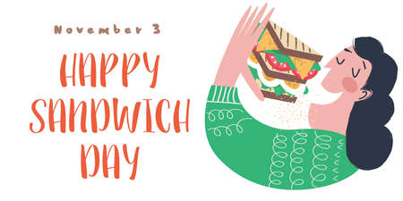 A woman eats a very large sandwich. Vector funny illustration in flat cartoon style. Isolated on a white background. Ilustração
