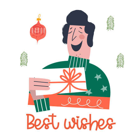 A happy person reads a Christmas greeting card. Best wishes. Vector illustration in cartoon style on a white background. Ilustração