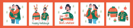 A set of fun vector greeting Christmas and new Year illustrations in cartoon style on a white background. Funny people, ugly Christmas sweaters, gifts.