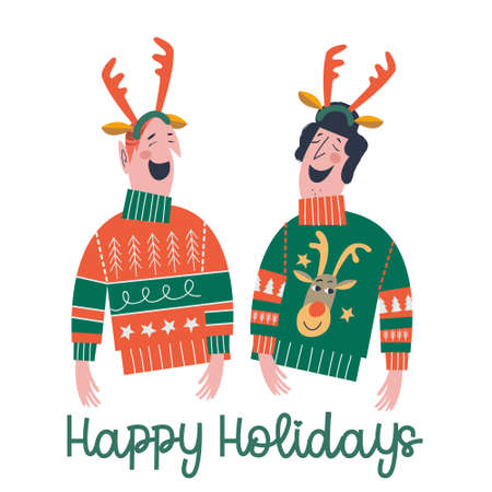 Happy holiday. Two funny friends dressed in ugly sweaters and antlers. Vector illustration, Christmas greeting card.