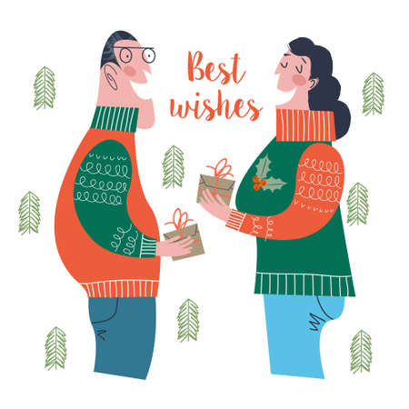 A man and a woman give gifts to each other. Christmas and new year gifts. Vector illustration in cartoon style on a white background.