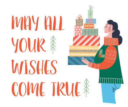 May all your wishes come true. A woman is holding a lot of boxes with Christmas gifts. Vector illustration in cartoon style on a white background.