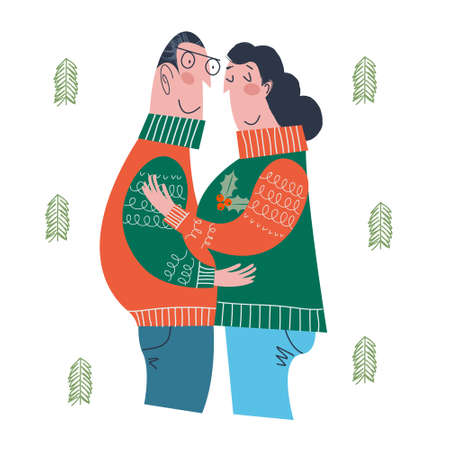 A loving couple dressed in warm knitted sweaters embracing together and smiles. Vector illustration in a flat cartoon style on a white background.