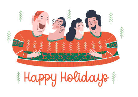 Funny friends dressed in an ugly sweater. Happy holiday. Vector funny Christmas and new year illustration, greeting card. Ilustração