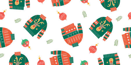 Ugly knitted Christmas sweaters and Christmas balls. Festive Christmas and new year seamless pattern on a white background. Vektorgrafik