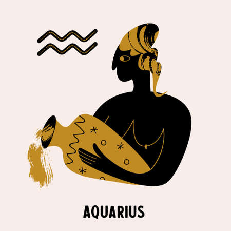 Horoscope and astrology. The zodiac sign Aquarius. Black and gold. Vector illustration in a flat style. Stok Fotoğraf - 156070152