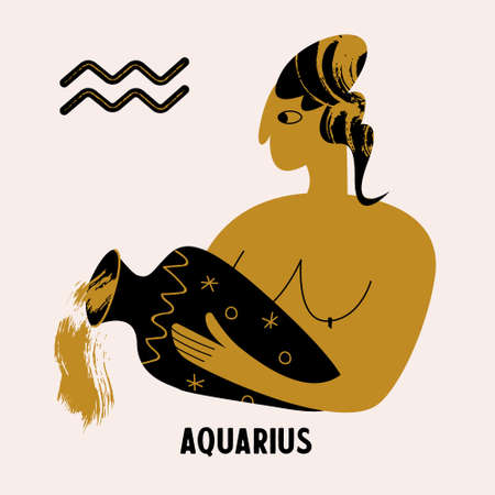 Horoscope and astrology. The zodiac sign Aquarius. Woman with a vase. The Aquarius woman. Vector illustration. Stok Fotoğraf - 156070158