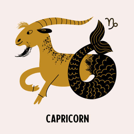 Capricorn. Zodiac sign. Horoscope and astrology. Constellation of Capricorn. Vector illustration in a flat style.