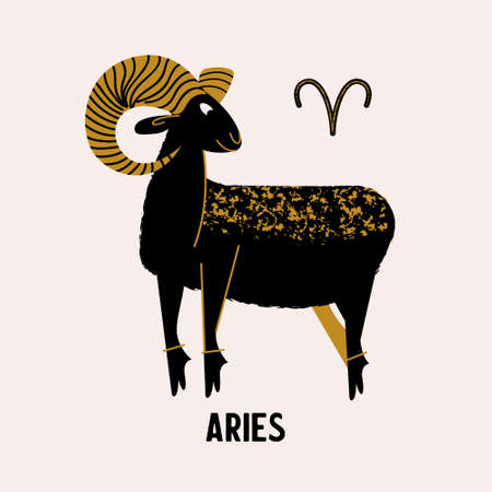 Aries zodiac sign. Black Aries with Golden horns on a light background. Horoscope and astrology. Vector illustration in a flat style.