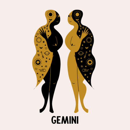 Gemini. Zodiac sign. Two girls are twins. Astrologer icon. Constellation of Gemini. Vector illustration in a flat style.