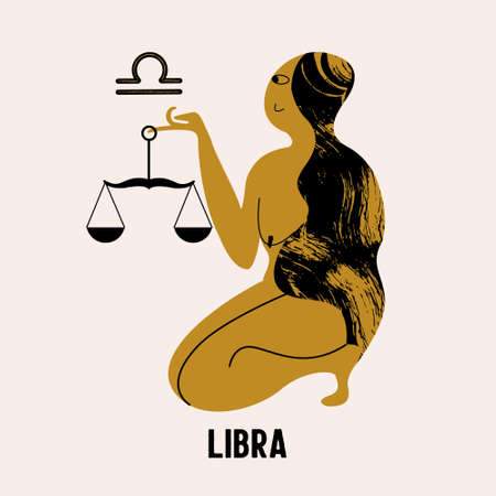 Libra. The constellation Libra. A nude woman is holding a scales. Vector illustration in flat style. Stok Fotoğraf - 156070225