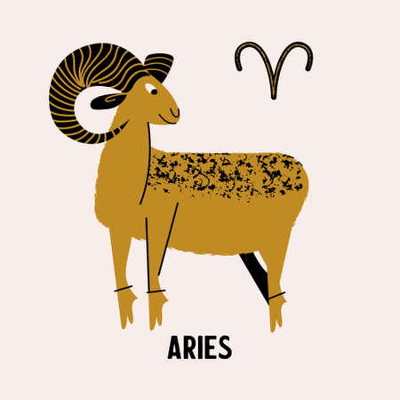 Aries zodiac sign. Golden Aries on a light background. Horoscope and astrology. Vector illustration in a flat style.  イラスト・ベクター素材