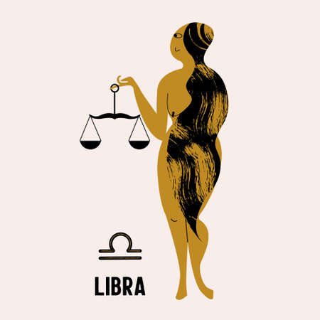 Libra. The constellation Libra. A nude woman is holding a scales. Vector illustration in flat style.