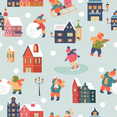 Seamless pattern. Snowy day in cozy christmas town. Winter christmas village day landscape. Children make a snowman, go skiing, playing in the snow. Children play outside in winter. Vector illustration, greeting card.