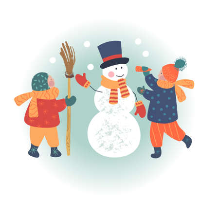 Snowy day. Winter christmas day landscape. Children make a snowman. Children play outside in winter. Vector illustration, greeting card.