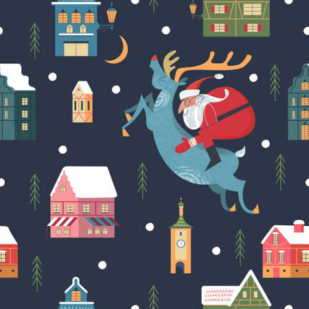 Seamless pattern. Snowy night in cozy christmas town. Winter christmas village day landscape. Snow covered houses, snowdrifts, fir trees. Santa Claus riding a reindeer. Vector illustration.  イラスト・ベクター素材