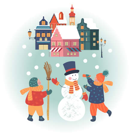 Snowy day in cozy christmas town. Winter christmas village day landscape. Children make a snowman. Children play outside in winter. Vector illustration, greeting card.  イラスト・ベクター素材