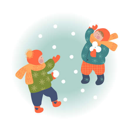 Snowy day. Winter christmas day landscape. Children playing in the snowball. Children play outside in winter. Vector illustration, greeting card.