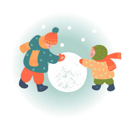 Snowy day. Winter christmas day landscape. Children make a snowman. Children play outside in winter. Vector illustration, greeting card. Stok Fotoğraf - 156025244