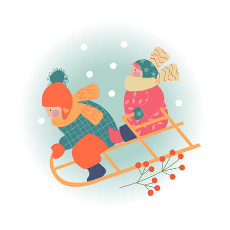 Snowy day. Winter christmas day landscape. Children sledding. Children play outside in winter. Vector illustration, greeting car